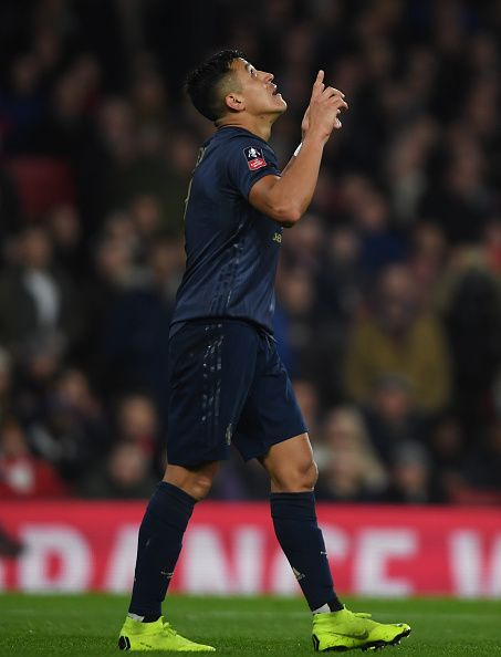 Sanchez celebrating the goal against his former club.