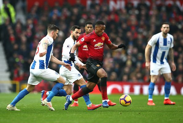 Martial was a constant nuisance for Brighton's backline to deal with, marauding forward with vigor