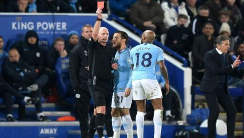 Delph is sent off against Leicester, as he was exposed by Claude Puel's men