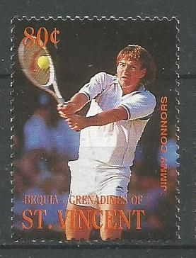 STAMP OF ST VINCENT ON JIMMY CONNORS.