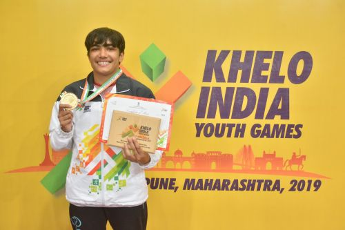 Anju from Haryana with her gold medal of girls U-17 53kg category at Khelo India Youth Games