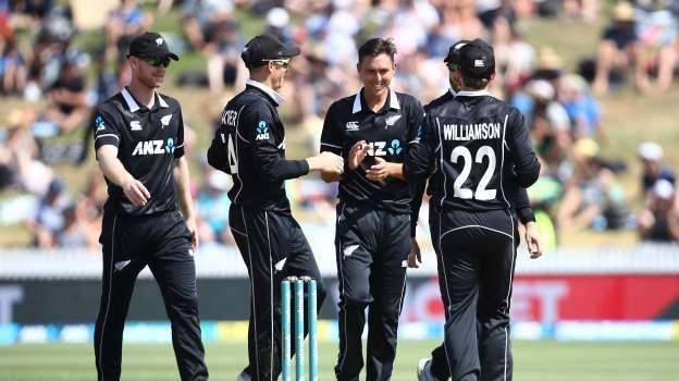 Newzealand players are celebrating the wicket