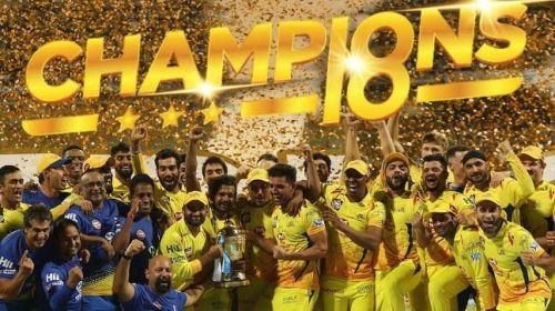 Chennai Super Kings celebrate after winning IPL 2018