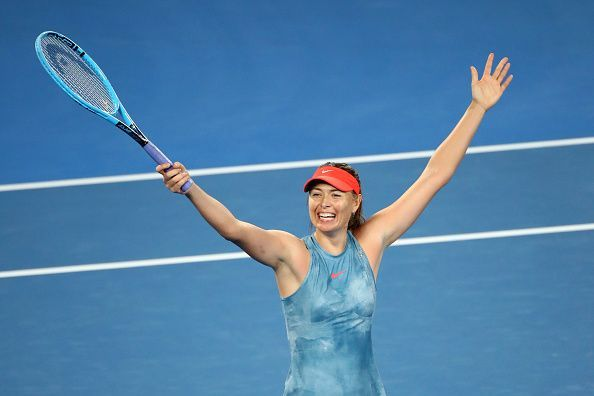 Sharapova stunned the defending champion in three grueling sets