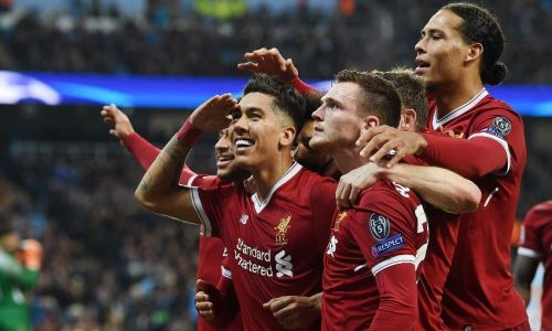 Liverpool players celebrating a goal