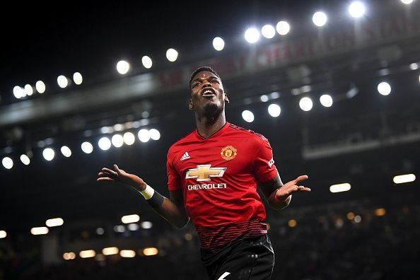 Paul Pogba in action for Manchester United in Premier League