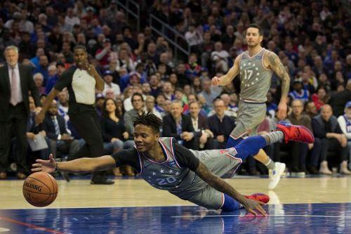 Action from Utah Jazz v Philadelphia 76ers