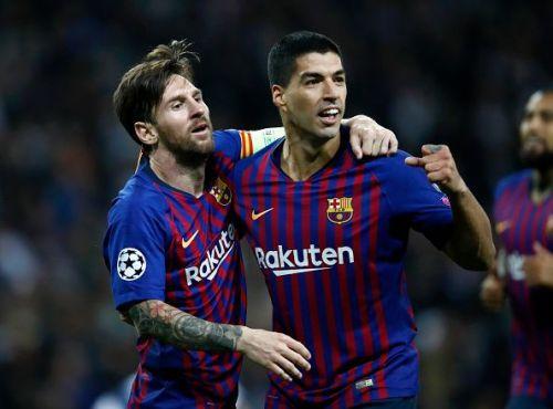 Barcelona superstars - Lionel Messi and Luis Suarez