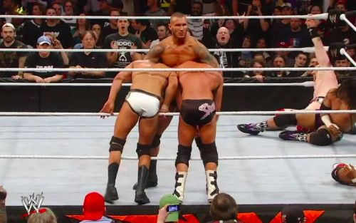 Randy Orton hits Cody Rhodes and Dolph Ziggler with a draped DDT at the 2012 Royal Rumble