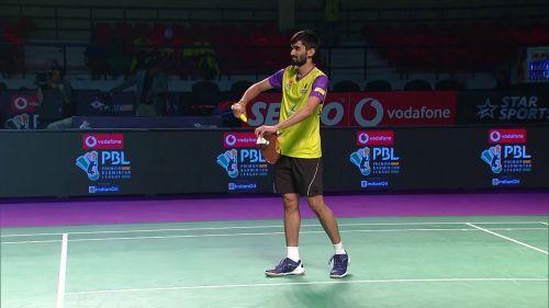 Srikanth Kidambi prepares to serve at the Vodafone Premier Badminton League
