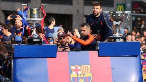 Barcelona celebrating their 2017-18 domestic double success