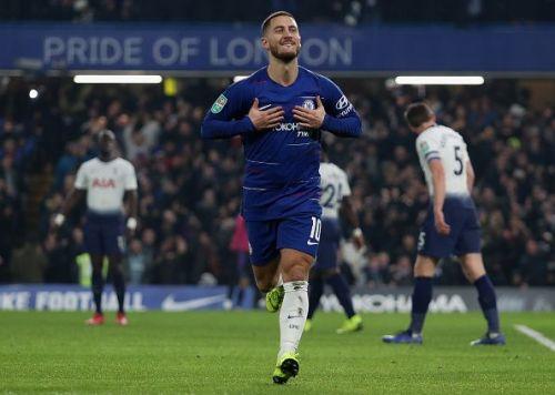 Eden Hazard celebrates after his goal