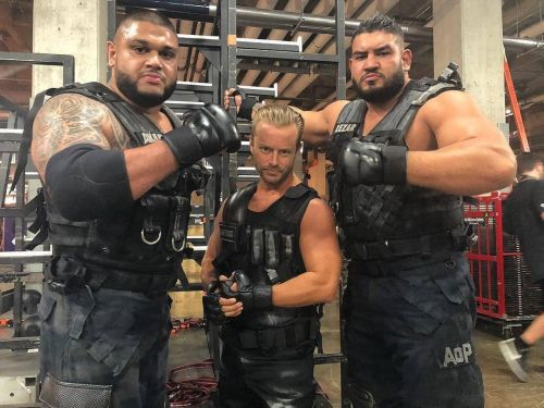 AOP are shown with their manager in Drake Maverick. (Source - WWE)