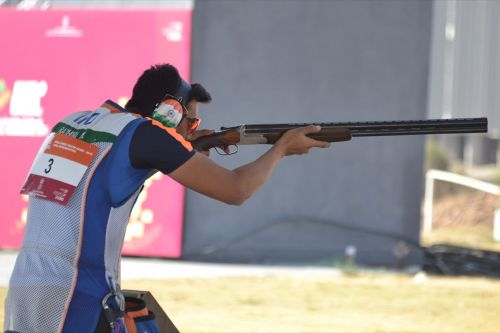 Manavaditya Singh Rathore from Rajasthan, gold medal winner in Men's under-21 Trap event at Khelo India Youth Games