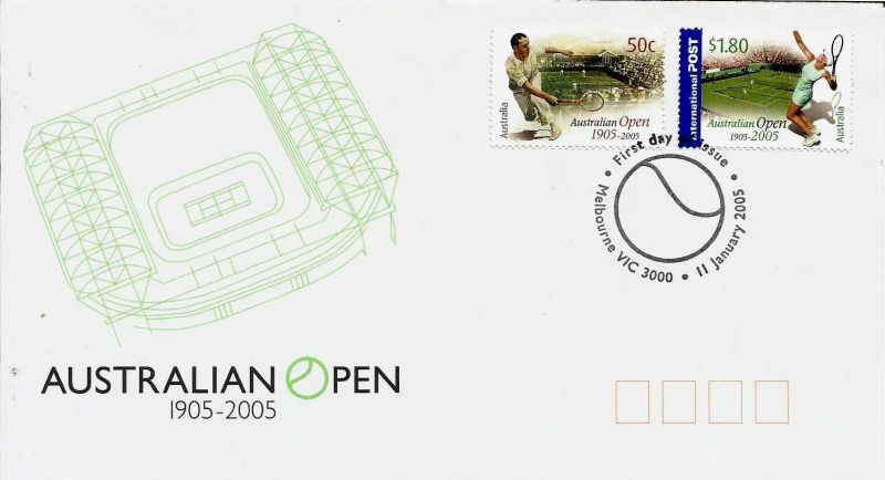 A FIRST DAY COVER OF AUSTRALIA ON AUSTRALIAN OPEN CENTENARY 1905-2005