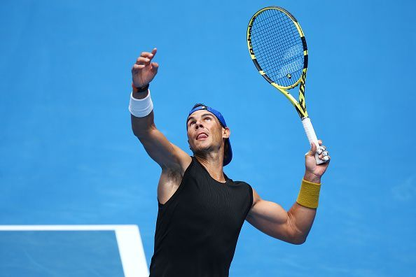 Rafa Nadal in training ahead of the Australian Open