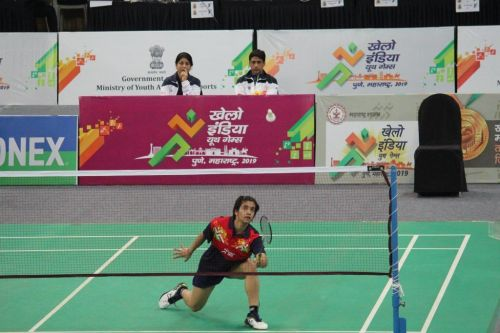 Malvika Bansod of Maharashtra in action during her semi final match at Khelo India Youth Games