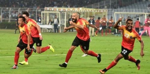 East Bengal players in action during the last 'Kolkata Derby' which they won 3-2