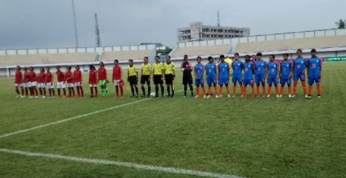 The Starting XI of India and Indonesia in their friendly