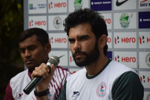 Jamil in his first press conference for Mohun Bagan