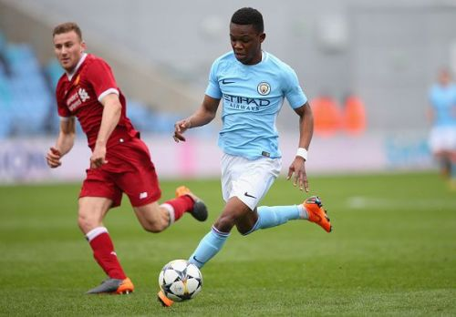 Rabbi Matondo in action for Manchester City in the UEFA Youth League