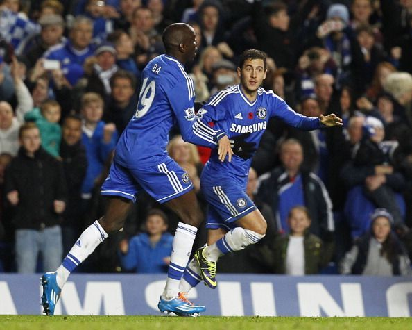 Demba Ba and Eden Hazard