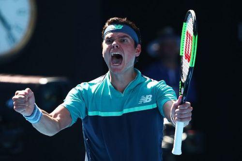 Milos Raonic reacts after his demolition act of Alexander Zverev at Australian Open 2019