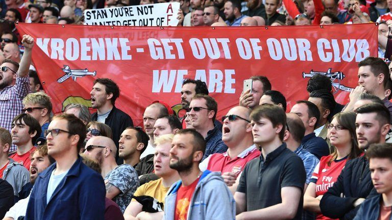 Arsenal fans protesting against Kroenke