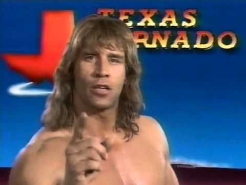 The Texas Tornado, better known as Kerry Von Erich, cutting a promo before the 1992 Royal Rumble