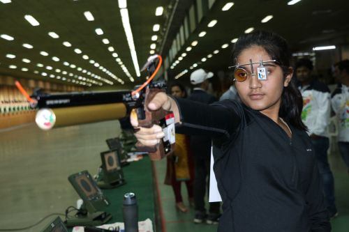Girls under-17 10m air pistol gold medalist Esha Singh from Telangana' in action at Khelo India Youth Games