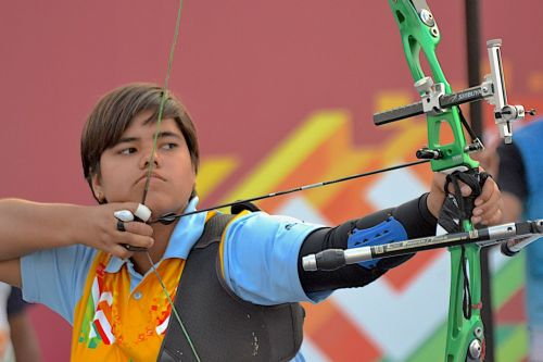 Riya Tewatia (Haryana), bronze medal winner of Archery Girls U21 recurve at Khelo India Youth Games