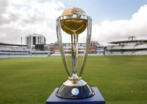 ICC Cricket World Cup trophy at the historical Lord's Cricket Ground.