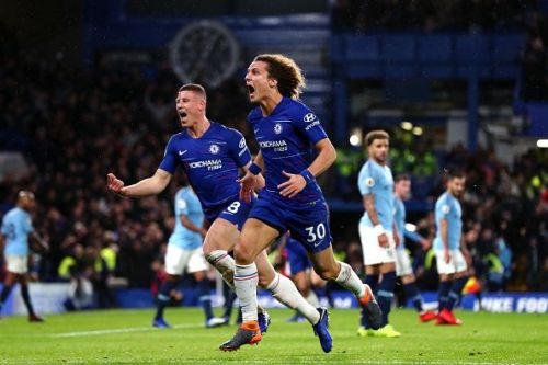 David Luiz and Ross Barkley celebrating during Chelsea's 2-0 win over Manchester City late last year
