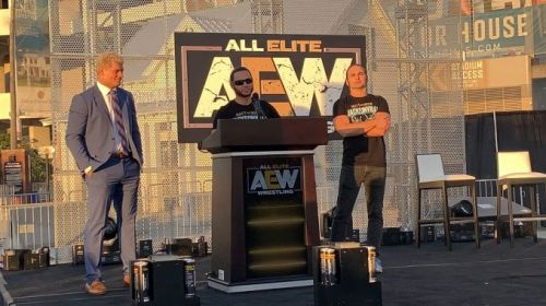 Cody and The Young Bucks at the AEW rally