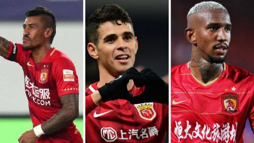 (Left to right) Paulinho, Oscar, Talisca.