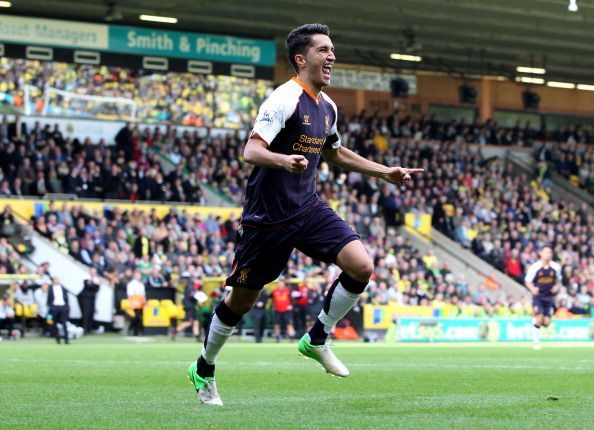 Sahin celebrates after scoring against Norwich in the Premier League