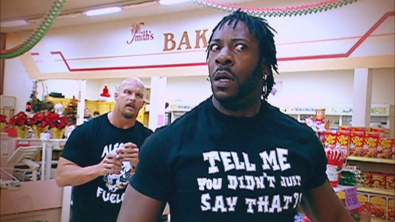 Stone Cold takes out Booker T at the supermarket