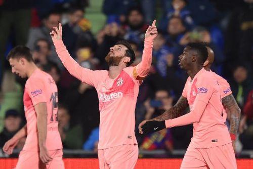 Lionel Messi after scoring against Getafe CF