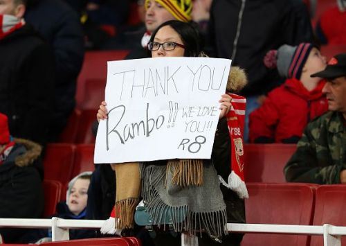 Arsenal fans expressing their gratitude to the Welshman for his services to the club.
