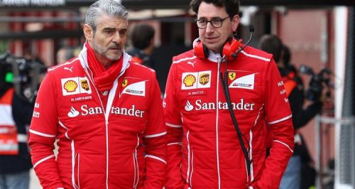 Maurizio Arrivabene (pictured left) alongside pictured alongside Mattia Binotto