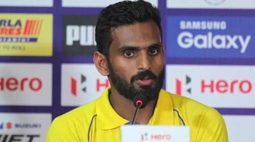 CK Vineeth during a press conference