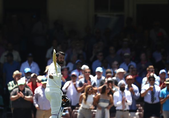 Cheteshwar Pujara walking back to the pavilion after scoring 193 at Sydney Cricket Ground
