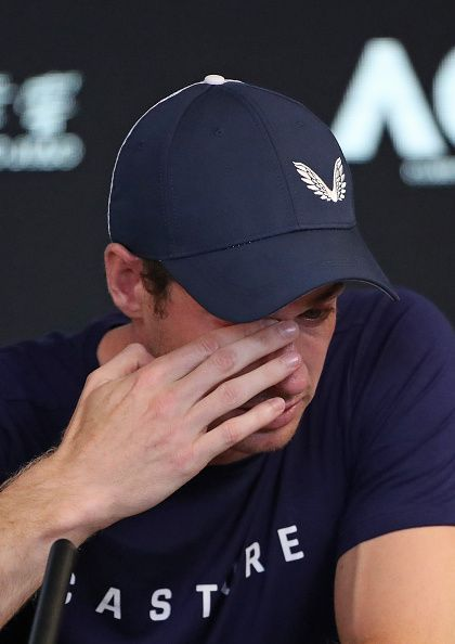 An emotional Murray announcing his retirement