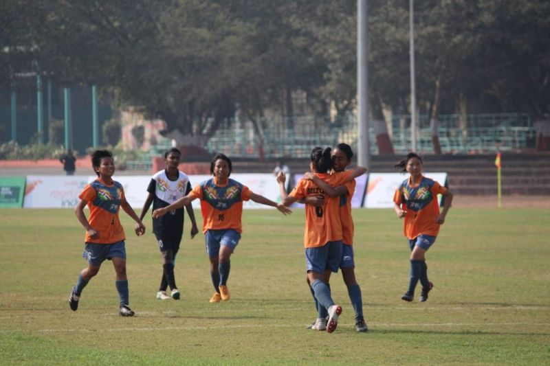 256f118175 Mizoram girls celebrating their goal against Tamil Nadu during Girls U-21  Football match