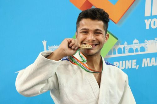 U21 boys Below-55kgs gold medallist, Shubham (DL), at Khelo India Youth Games