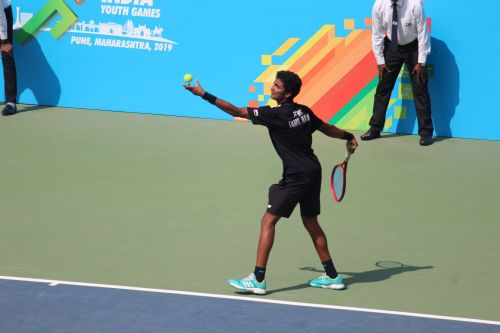 Boys U-21 singles gold medallist Sureshkumar Manish in action at Khelo India Youth games