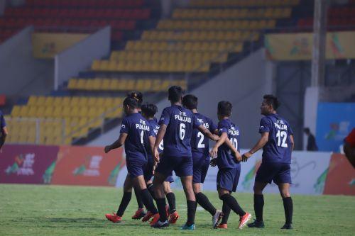 Punjab U-17 players celebrating their goal against host Maharashtra at Khelo India Youth Games