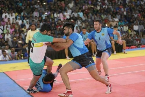 Pardeep Narwal in action against Bihar