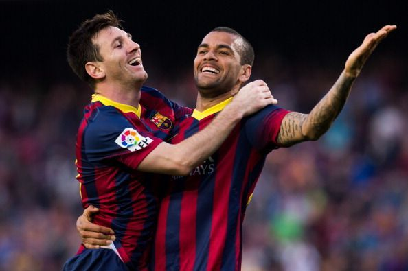 Dani Alves played a huge role in Messi's success during his time in the Catalan capital