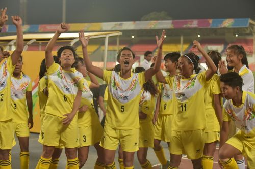 U-21 Girls' winners, Manipur celebrating their win over Tamil Nadu